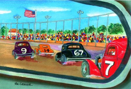 3e459847 (Nostalgic art rendering of a driver's view of vintage modifieds (i.e.:  stockcars) racing at a local short track on Saturday night